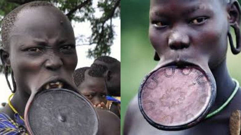 Why girls of the Mursi tribe must remove their teeth and stretch their lips before they marry