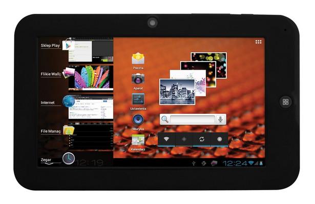 """Manta MID08 PowerTab Procesor: ARM Cortex A9 1,0 Ghz Dysk twardy: 4GB Ekran: 7"""" 800x480 Pamięć RAM: 512MB System operacyjny: Android 4.0 Karty pamięci: micro SD Czas pracy: 4,5h Waga: 355g Cena: od 198 zł"""