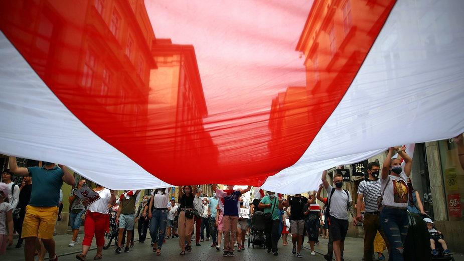Marsz poparcia dla Białorusi w Krakowie
