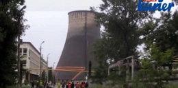 Runął 60. metrowy komin w Lublinie! Niesamowite wideo