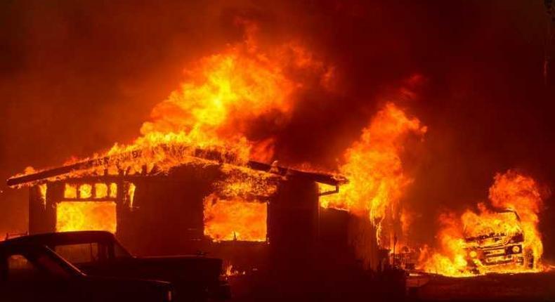 Fire razes down police camp