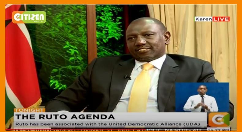 Screengrab- File Image of Deputy President Willian Ruto on Citizen tv