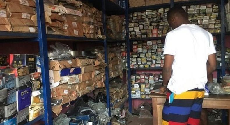 A Nigerian-owned spare parts shop at Suame Magazine