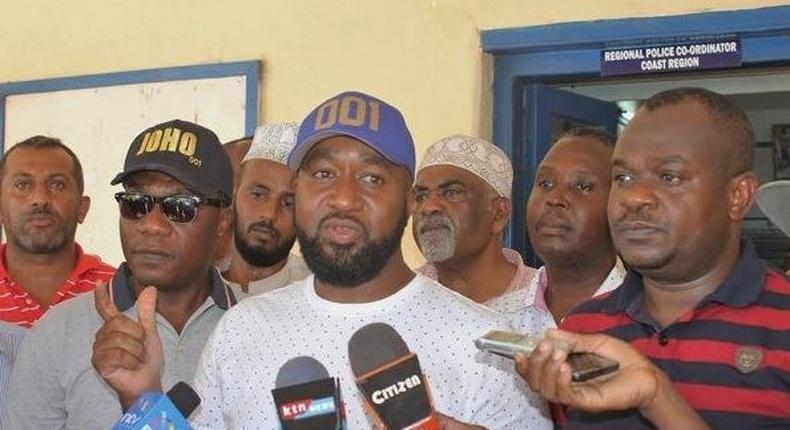 Mombasa Governor Hassan Joho outside the Coast provincial headquarters after recording a statement.