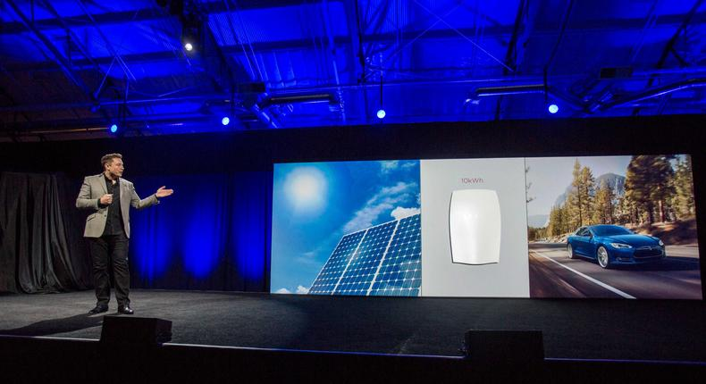 Tesla CEO Elon Musk introducing the Powerwall in 2015.