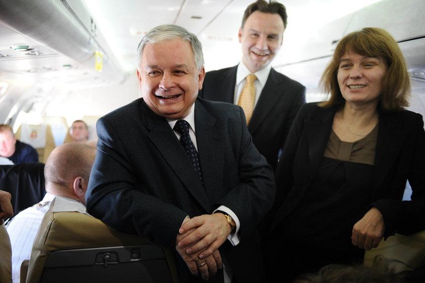 Prezydent Lech Kaczyński na pokładzie TU-154