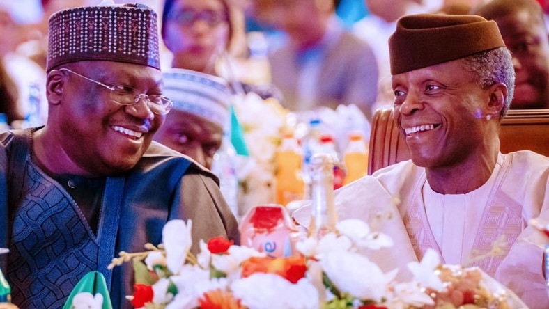 Vice President, Yemi Osinbajo and President of the Senate, Ahmad Lawan at the Independence Day dinner   [Twitter/@NGRPresident]