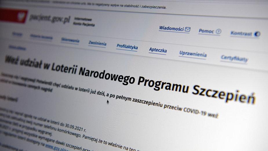 Strona ikp.gov.pl zachęca do udziału w loterii