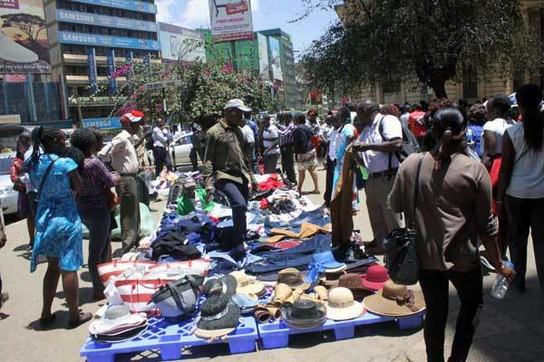 Hawkers selling in Nairobi CBD