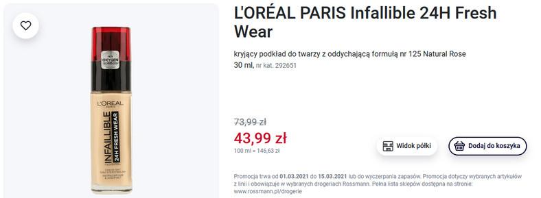 L'Oréal Paris Infaillible 24H Fresh Wear - kryjący podkład do twarzy z oddychającą formułą