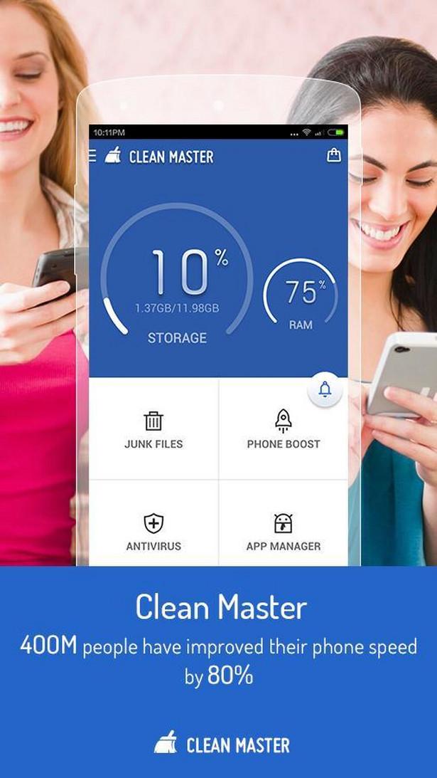 Clean Master Urządzenia mobilne coraz częściej są celem ataków malware. Clean Master jest najczęściej pobieranym optymizerem, przyspieszaczem, oraz pakietem bezpieczeństwa. Jak informuje producent Clean Master jest niedościgniony w zwiększaniu wydajności, usuwaniu śmieci, filtrowaniu spamu, oraz w ochronie przeciwko malware, trojanami czy wirusami.