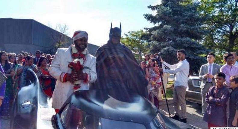 30-yr-old Patel rolled into his wedding venue with the Dark Knight, a.k.a. the Brampton Batman himself in a sleek Batmobile