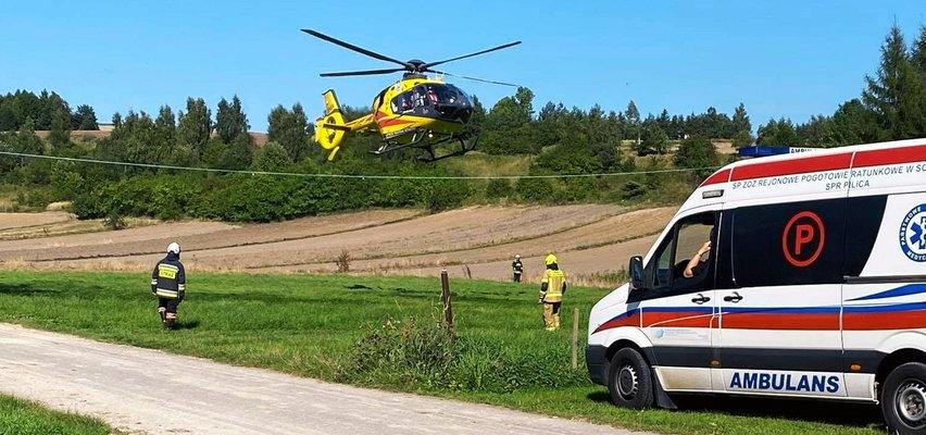 11-latek zabrany śmigłowcem LPR do szpitala. Dramatyczny wypadek