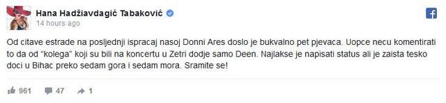 Hanina objava na fejsbuku