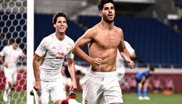 Marco Asensio's brilliant late goal sent Spain through to an Olympic final against Brazil Creator: Anne-Christine POUJOULAT