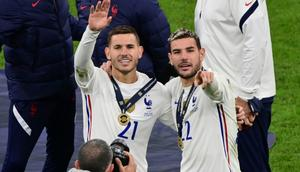 Lucas Hernandez (L) won the Nations League title with France on Sunday alongside his brother Theo (R) Creator: MIGUEL MEDINA