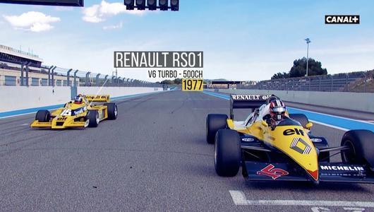 Nico Hülkenberg i Alain Prost w F1 Renault z 1977