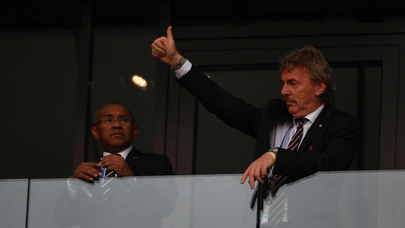 Prezes PZPN Zbigniew Boniek (P) przed meczem z Senegalem