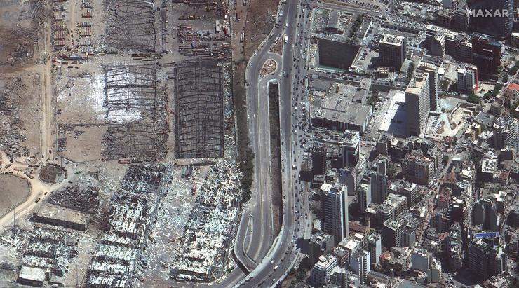 Bejrut, eksplozija, satelitski snimci, pre i posle