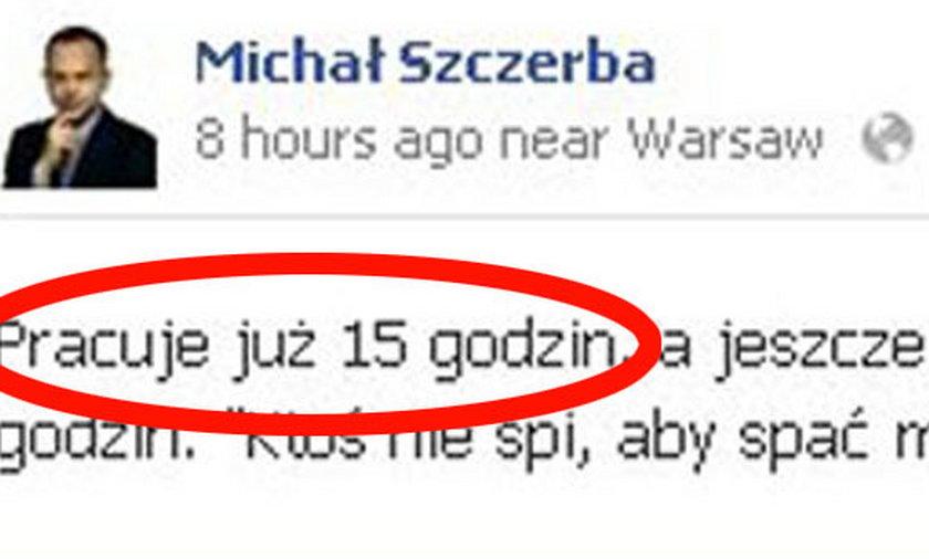 Wpis Michała Szczerby na Facebooku