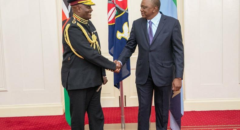 President Uhuru Kenyatta with new IG Hillary Mutyambai at State House (PSCU)