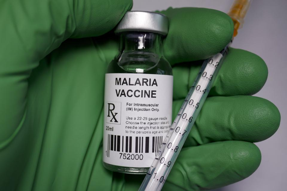 A vial of the malaria vaccine