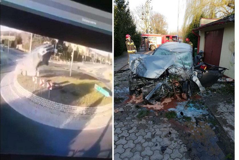 Wypadek na rondzie w Rąbieniu