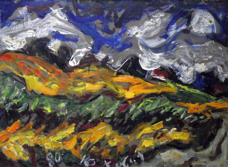 "Slika Milana Konjovica ""Zrelo zito, padina, kukuruz"", 1980"