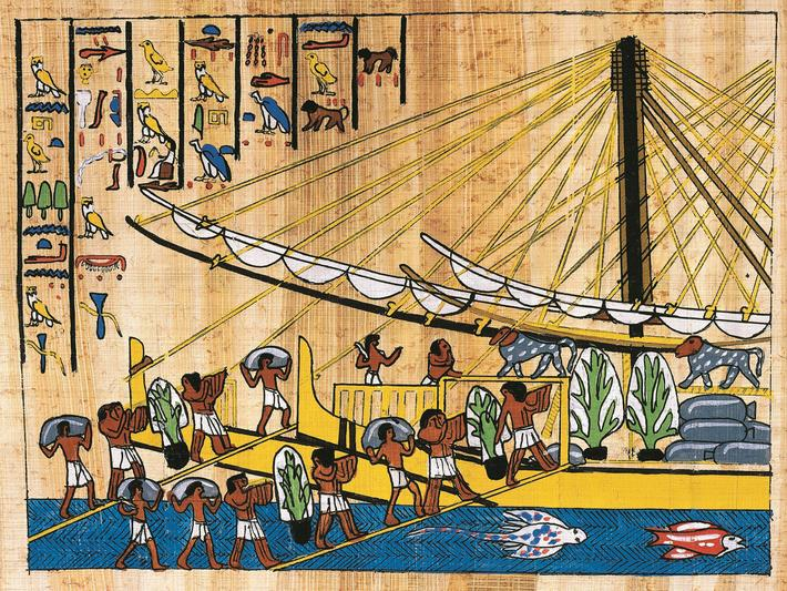 The loading of food for Hatshepsut's expedition to the Land of Punt, papyrus, reconstruction of a re