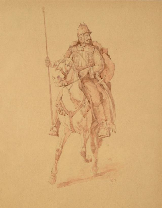 Pavle Paja Jovanovic, Jovan Monasterlija na konju, oko 1896., tuš, olovka i sepija, 49x39,5cm