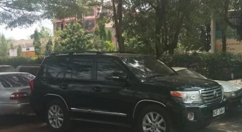 The vehicle that Jared Kwaga, the key suspect in the Sh2 billion corruption and ally of Migori Governor Okoth Obado was driving when he was arrested in Kisumu