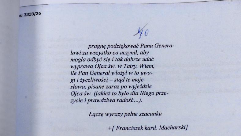 IPN opublikował kolejne tomy akt, znalezionych w domu Czesława Kiszczaka. Na jednej z kart możemy znaleźć podziękowania kardynała Macharskiego za zabezpieczenie wizyty Jana Pawła II w Polsce.