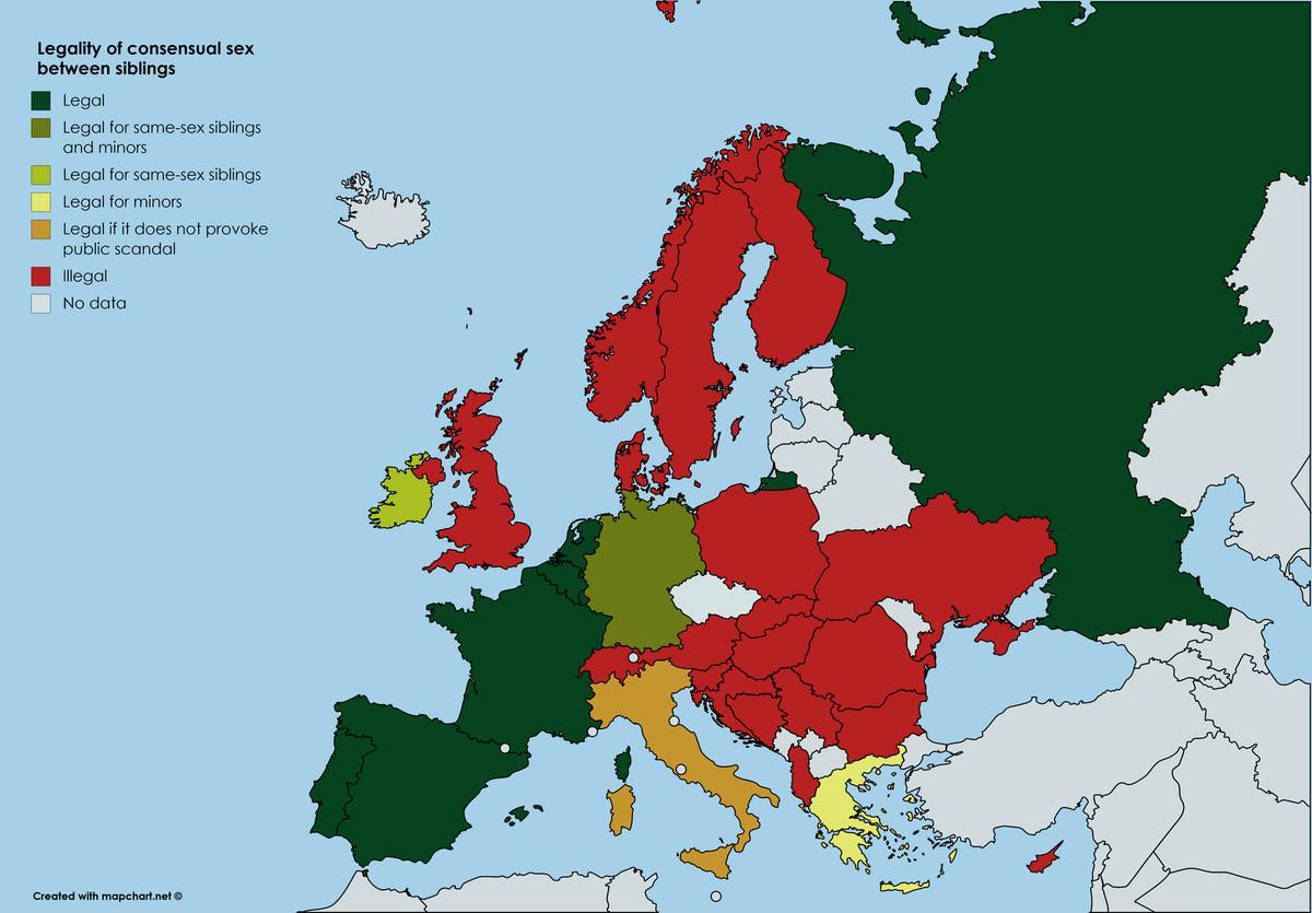Mapa Evropskih Zemalja U Kojima Su Dozvoljene Seksualne Veze Među
