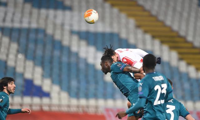 Milan Pavkov u 94. minutu meča FK Crvena zvezda - Milan postiže gol za konačnih 2:2 u prvoj utakmici šesnaestine finala Lige Evrope