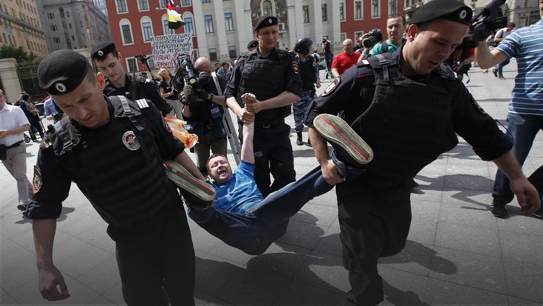 RUSSIA LGBT DEMONSTRATION (Members of LGBT community participate in a parade in Moscow)