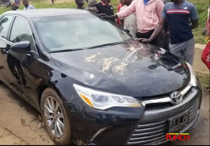 Okwecheme's car after the incident [Punch]