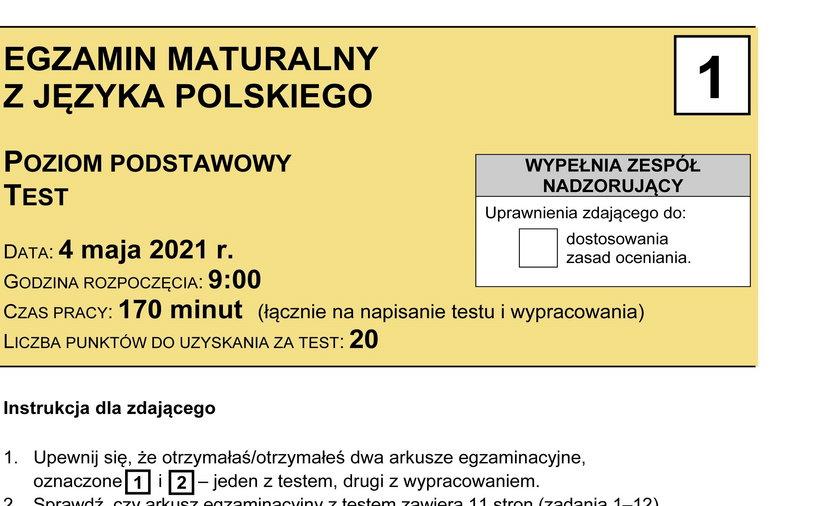 Arkusze egzaminacyjne z matury z języka polskiego.