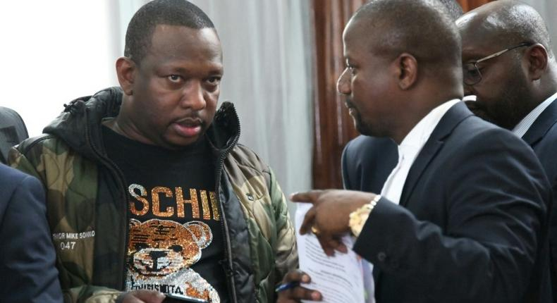 Nairobi Governor Mike Sonko while appearing before a Nairobi court on Monday where he faced corruption-related charges
