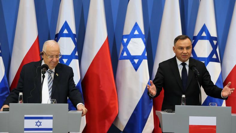 Prezydent Andrzej Duda oraz prezydent Izraela Reuwen Riwlin podczas oświadczenia dla mediów.