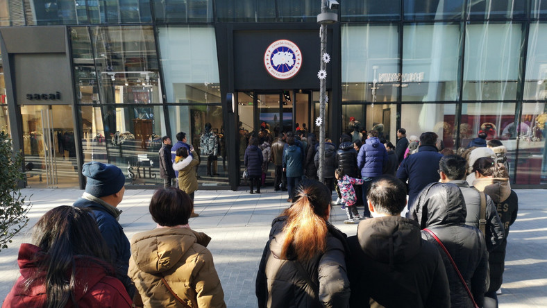22f32e428ac People line up to enter a Canada Goose flagship store at Sanlitun on  December 30