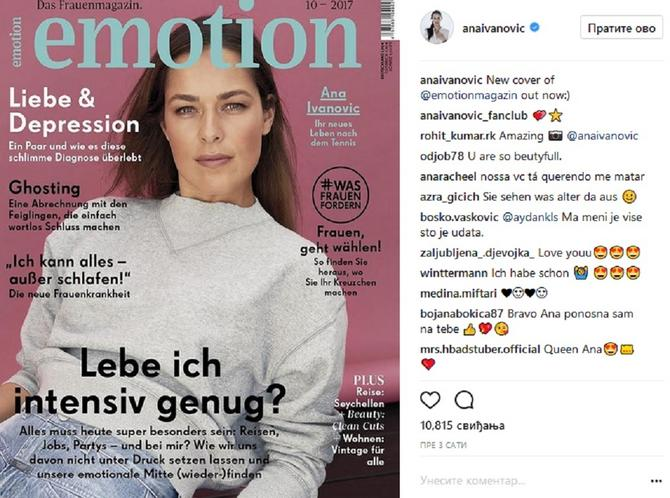"""Ana Ivanović krasi naslovnicu magazina """"Emotion"""""""