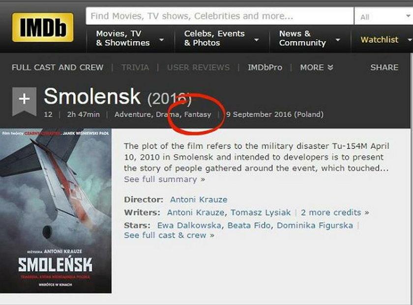 """""""Smoleńsk"""" w największej międzynarodowej bazie filmów"""