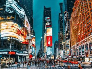 Night view of Times Square-central and main square of New York. USA.
