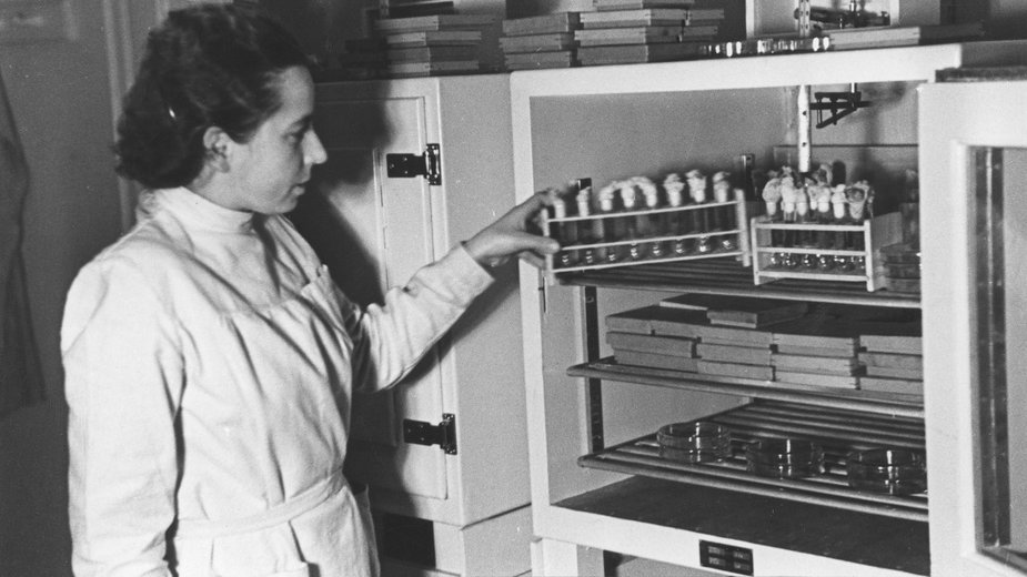 Pracownik naukowy przy szklanej szafce służącej do przechowywania szczepionki przeciwtyfusowej, 1943 rok, sygnatura 3-2-0-9506 (NAC, domena publiczna)