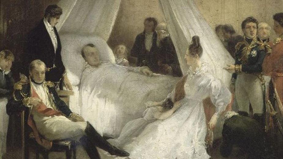 Napoleon na łożu śmierci. Obraz Carla von Steubena