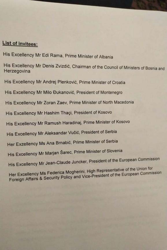 Spisak zvanica