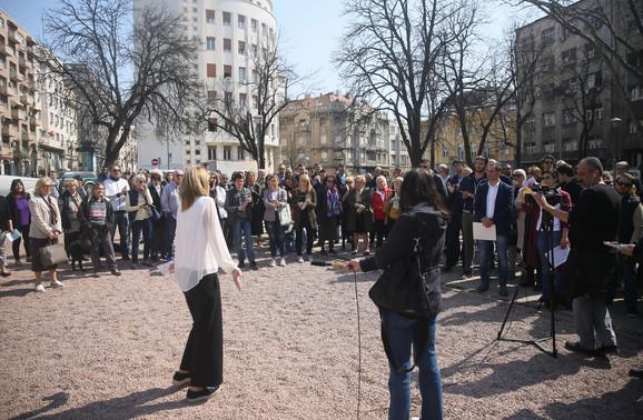 Okupljeni u parku Vojvode Vuka