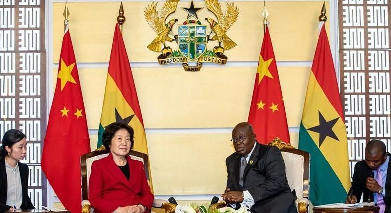 President Nana Addo Dankwa Akufo-Addo with Sun Chunlan