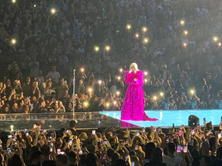 Nataša Bekvalac u Areni u pink haljini od perja
