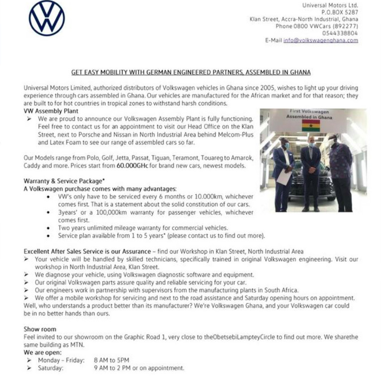 Brand new VW cars assembled in Ghana selling as low as GHC60,000